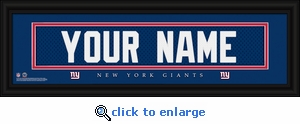 New York Giants Personalized Stitched Jersey Nameplate Framed Print