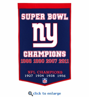 New York Giants Super Bowl Dynasty Wool Banner (24 x 36)