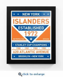New York Islanders Dual Tone Team Sign Print Framed