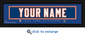 New York Islanders Personalized Stitched Jersey Nameplate Framed Print