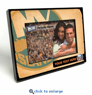 New York Islanders Personalized Vintage Style Black Wood Edge 4x6 inch Picture Frame