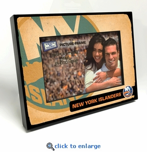 New York Islanders Vintage Style Black Wood Edge 4x6 inch Picture Frame