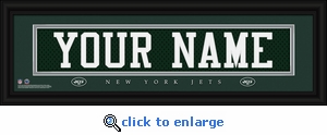 New York Jets Personalized Stitched Jersey Nameplate Framed Print