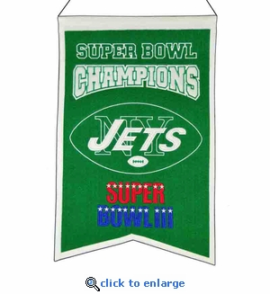 New York Jets Super Bowl Champions Wool Banner (14 x 22)