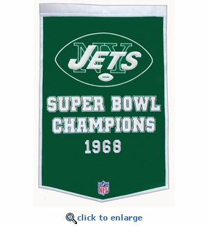New York Jets Super Bowl Dynasty Wool Banner (24 x 36)