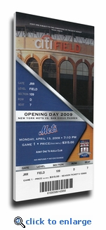 New York Mets 2009 Opening Day / First Game at Citi Field Canvas Mega Ticket