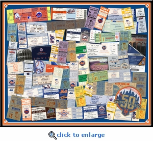 New York Mets 50th Anniversary Tickets to Every Season Framed Print