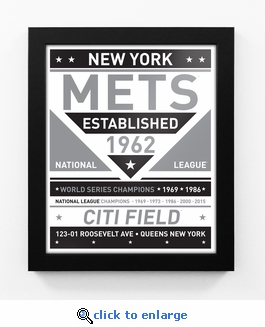New York Mets Black and White Team Sign Print Framed