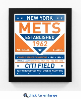 New York Mets Dual Tone Team Sign Print Framed