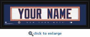 New York Mets Personalized Stitched Jersey Nameplate Framed Print