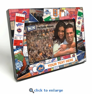 New York Mets Personalized Ticket Collage Black Wood Edge 4x6 inch Picture Frame