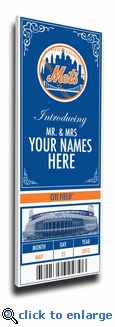 New York Mets Personalized Special Occasion Announcement on Canvas - Ticket Design
