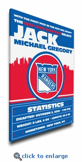 New York Rangers Personalized Canvas Birth Announcement - Baby Gift
