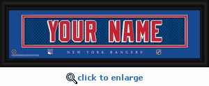 New York Rangers Personalized Stitched Jersey Nameplate Framed Print