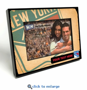 New York Rangers Personalized Vintage Style Black Wood Edge 4x6 inch Picture Frame