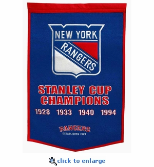 New York Rangers Stanley Cup Dynasty Wool Banner (24 x 36)