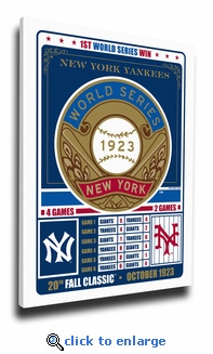 New York Yankees 1923 World Series Champions Canvas Print