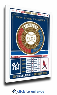 New York Yankees 1928 World Series Champions Vintage Canvas Print