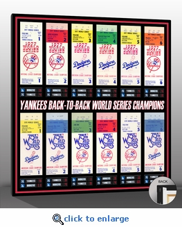 New York Yankees 77-78 Back to Back World Series Champions Tickets to History Canvas Print