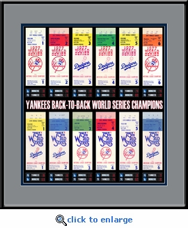 New York Yankees Back to Back 77-78 World Series Champions Tickets to History Framed Print