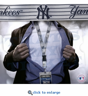 New York Yankees MLB Lanyard Key Chain and Ticket Holder - Pinstripe