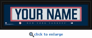 New York Yankees Personalized Stitched Jersey Nameplate Framed Print