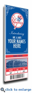 New York Yankees Personalized Special Occasion Announcement on Canvas - Ticket Design