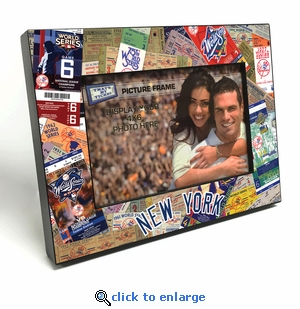 New York Yankees Ticket Collage Black Wood Edge 4x6 inch Picture Frame