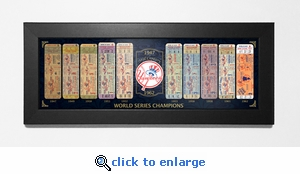 New York Yankees World Series Champions Tickets To History Framed Print - Mid Century