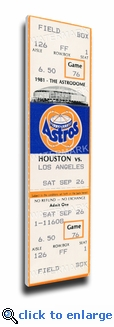Nolan Ryan 5th No-Hitter Canvas Mega Ticket - Houston Astros