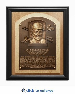 Nolan Ryan Baseball Hall of Fame Plaque Framed Print - Texas Rangers