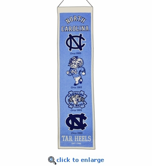North Carolina Tar Heels Heritage Wool Banner (8 x 32)