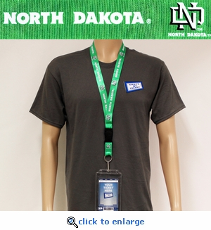 North Dakota Fighting Sioux NCAA Lanyard Key Chain and Ticket Holder - Green