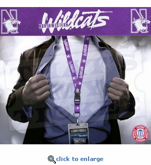 Northwestern Wildcats NCAA Lanyard Key Chain and Ticket Holder