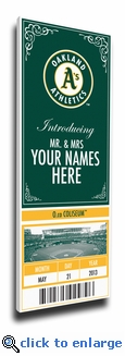 Oakland A's Personalized Special Occasion Announcement on Canvas - Ticket Design