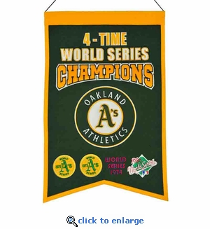 Oakland Athletics 4-Time World Series Champions Wool Banner (14 x 22)