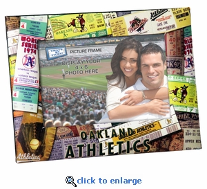 Oakland Athletics Padded Front 4x6 Picture Frame - Ticket Collage Design