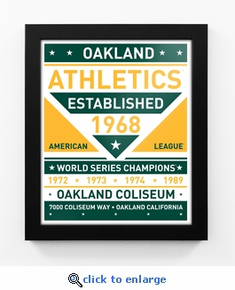 Oakland Athletics Dual Tone Team Sign Print Framed