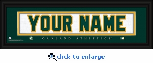 Oakland Athletics Personalized Stitched Jersey Nameplate Framed Print