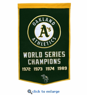 Oakland Athletics World Series Dynasty Wool Banner (24 x 36)