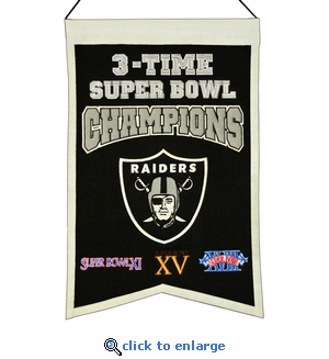 Oakland Raiders 3-Time Super Bowl Champions Wool Banner (14 x 22)