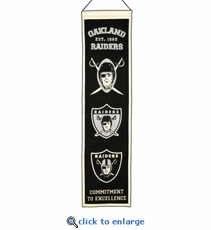Oakland Raiders Heritage Wool Banner (8 x 32)