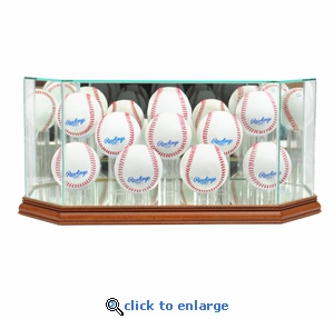 Octagon 10 Baseball Display Case - Walnut