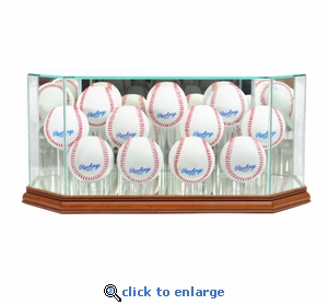 Octagon 11 Baseball Display Case - Walnut