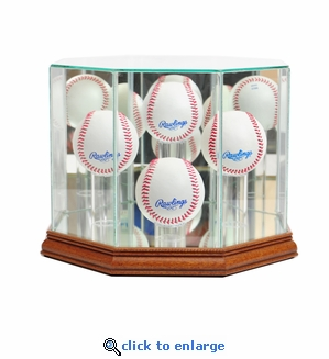 Octagon 4 Baseball Display Case - Walnut