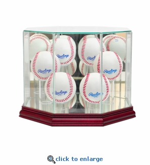 Octagon 6 Baseball Display Case - Cherry