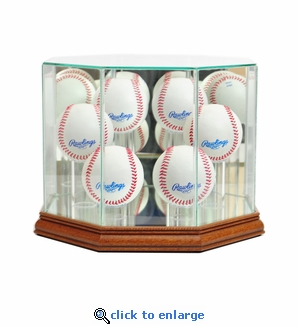 Octagon 6 Baseball Display Case - Walnut