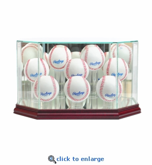 Octagon 8 Baseball Display Case - Cherry