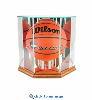 Octagon Basketball Display Case - Walnut