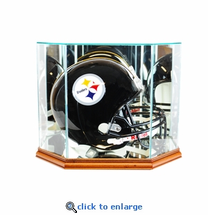 Octagon Full Size Football Helmet Display Case - Walnut